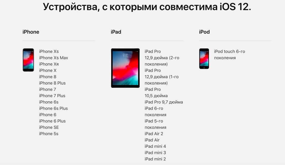 Список устройств, на которые можно установить iOS 12