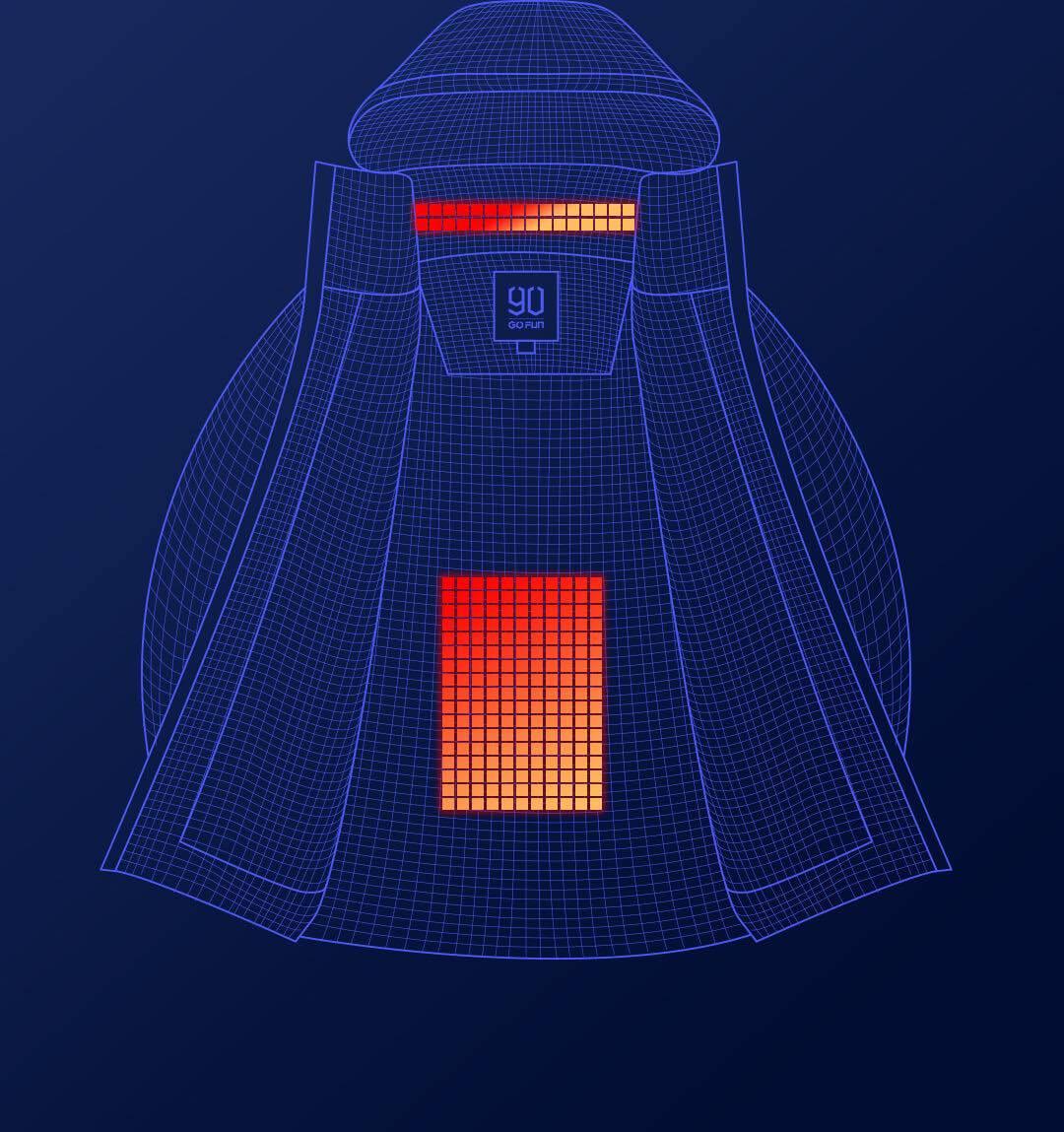 Куртка нагревается до 50 °C.