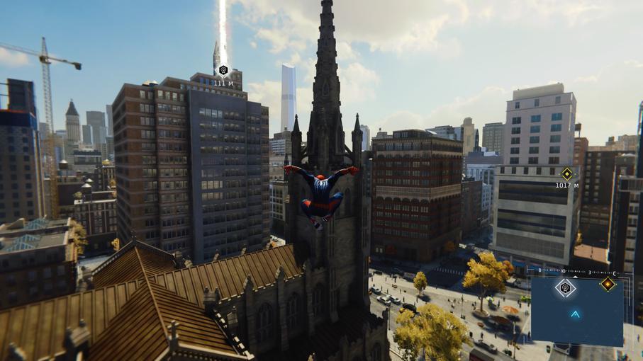 Человек-паук изучает Нью-Йорк с высоты