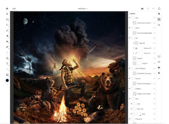 Интерфейс Photoshop CC 1.0 для iPad