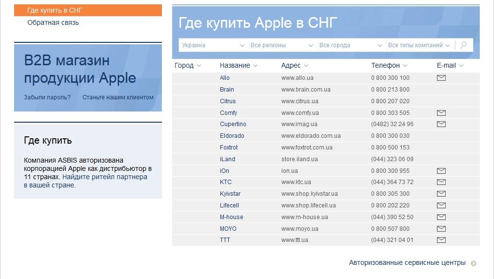 Официальные продавцы Apple в Украине