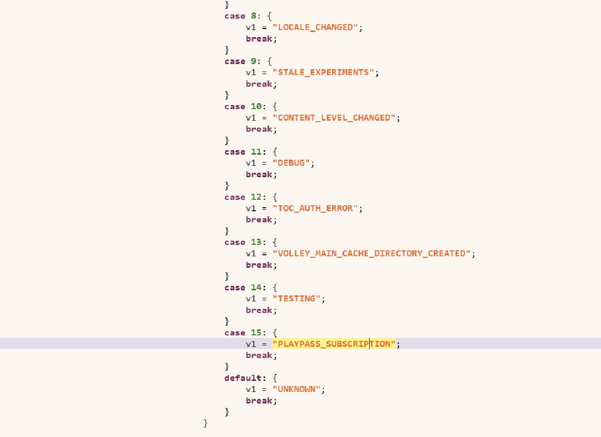 Декомпиляция кода показала, что Play Pass имеет отношение к подписке