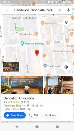 Поиск заведения на Google Maps