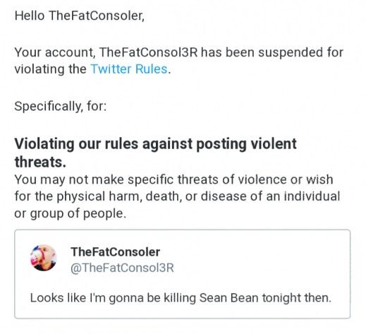 Официальный ответ Twitter на комментарий TheFatConsoler