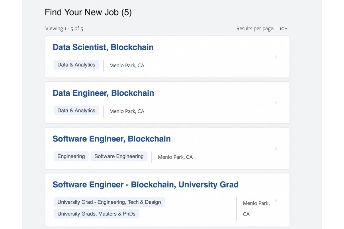 Facebook открыла пять вакансий для своей новой блокчейн-команды