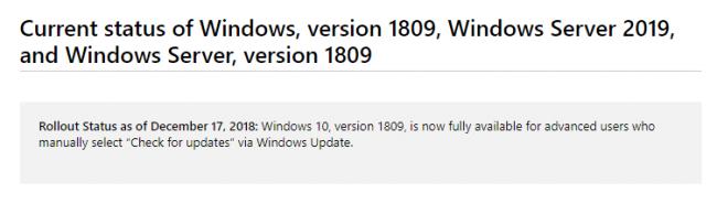 Новый статус обновления 1809 для Windows 10