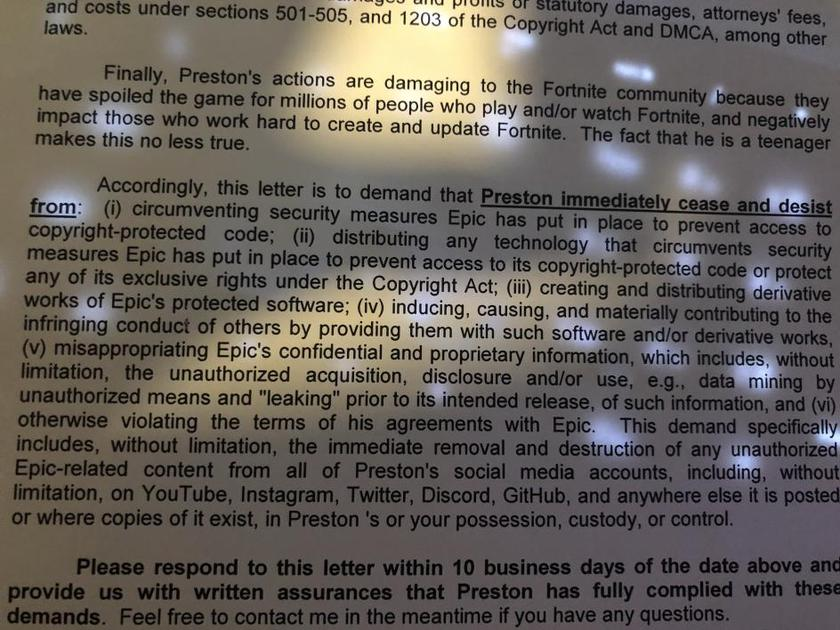 Письмо с требованиями закрыть страницы Престона с датамайнингом