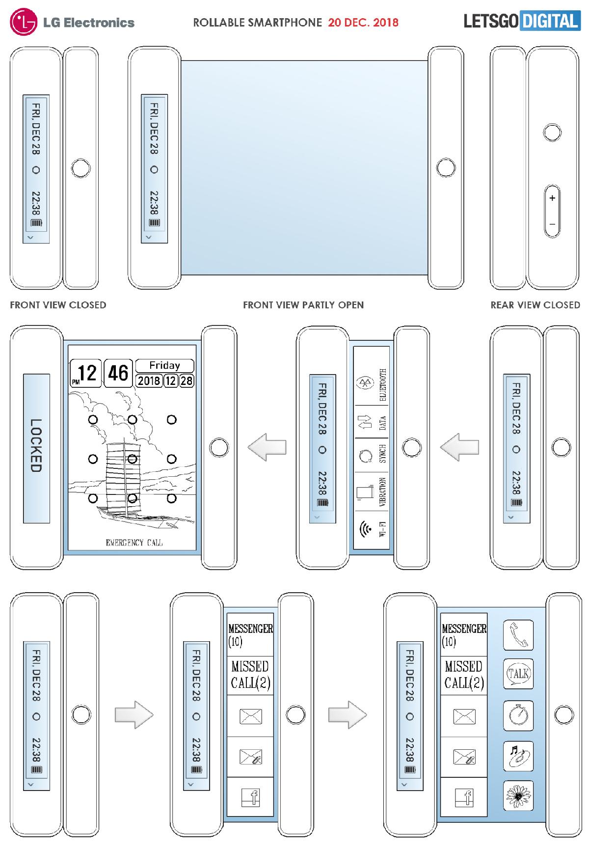 Устройство предусматривает наличие двух модулей, внутрь которых убирается скручивающийся экран