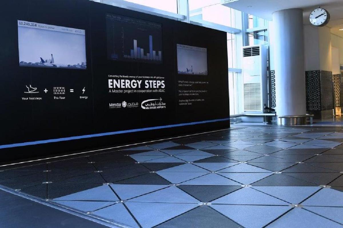 Интерактивные экраны показывает количество энергии от шагов пешеходов
