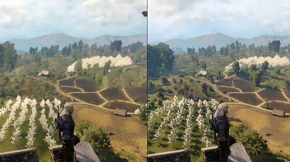«Ведьмак 3» на Xbox One (слева) и на ПК (справа). ПК безоговорочно побеждает