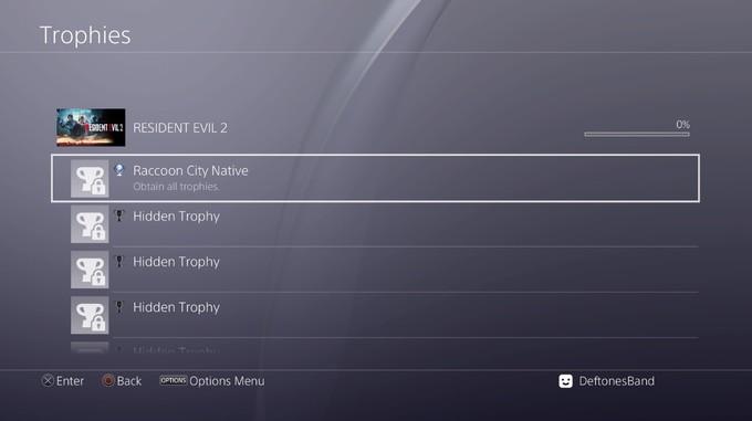 Первая страница трофеев в Resident Evil 2