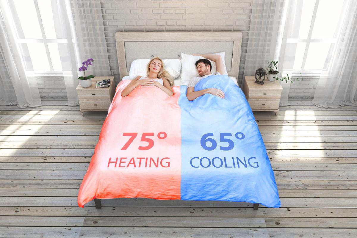 Одеяло оснащено таймером, который заранее подогреет или охладит его