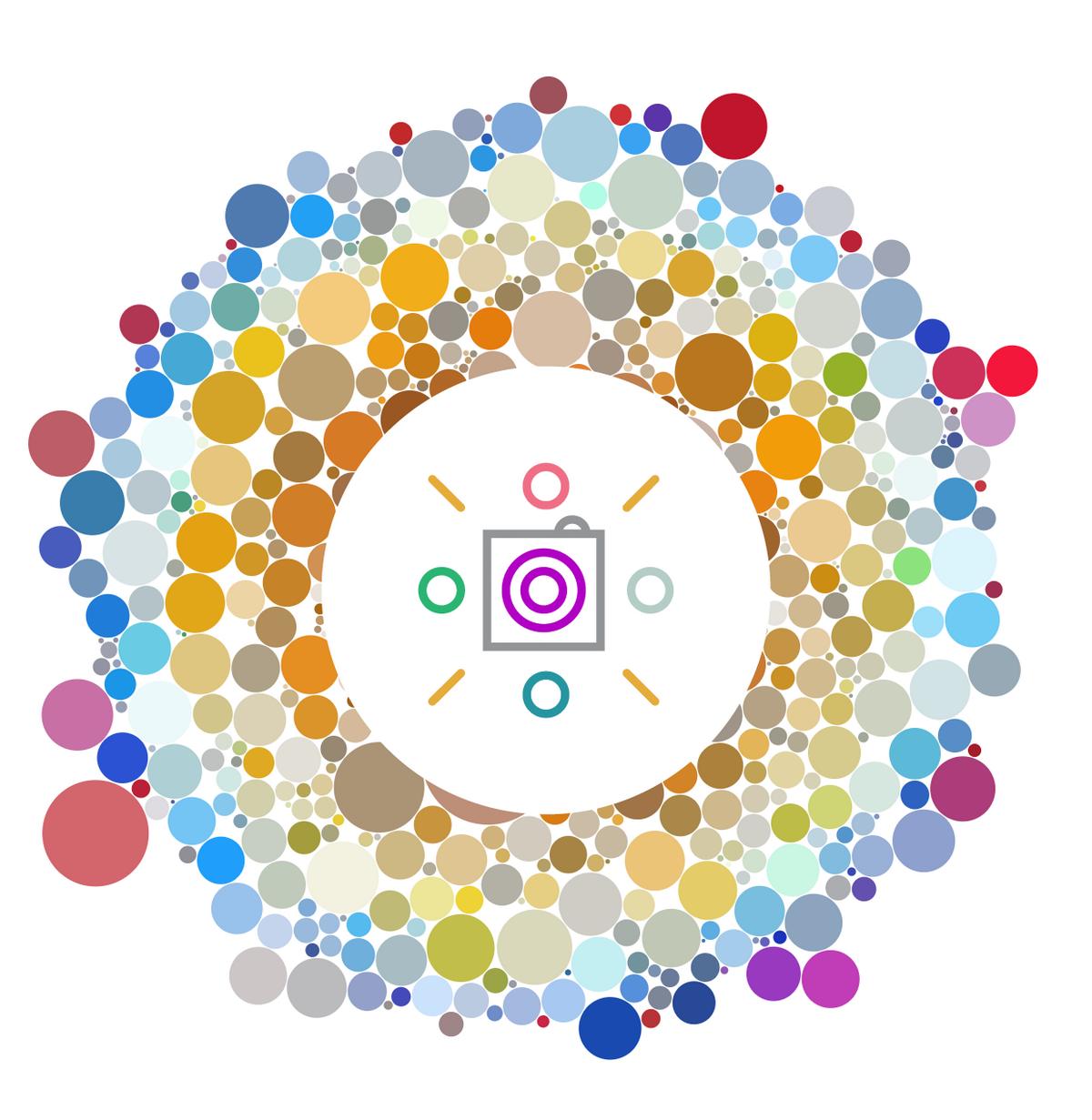 После авторизации программа анализирует профиль пользователя и представляет картинку с определенным количеством цветных точек