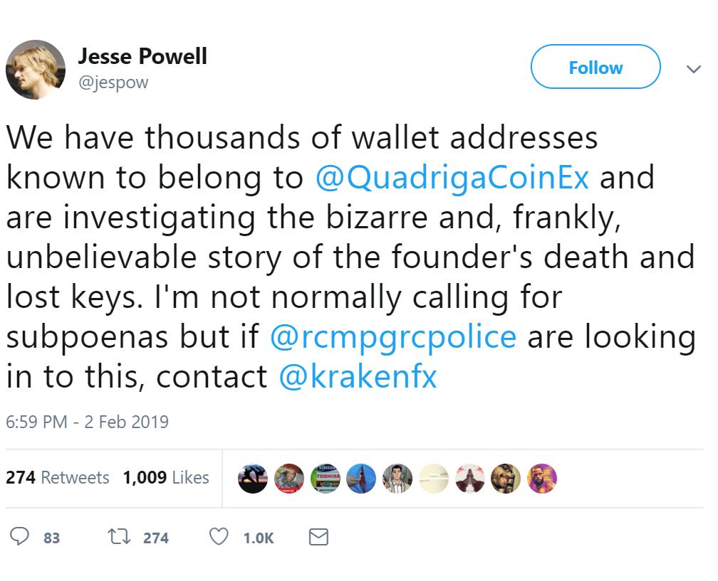 Обращение Джесси Пауэлла в Twitter насчет проблемы с Quadriga CX