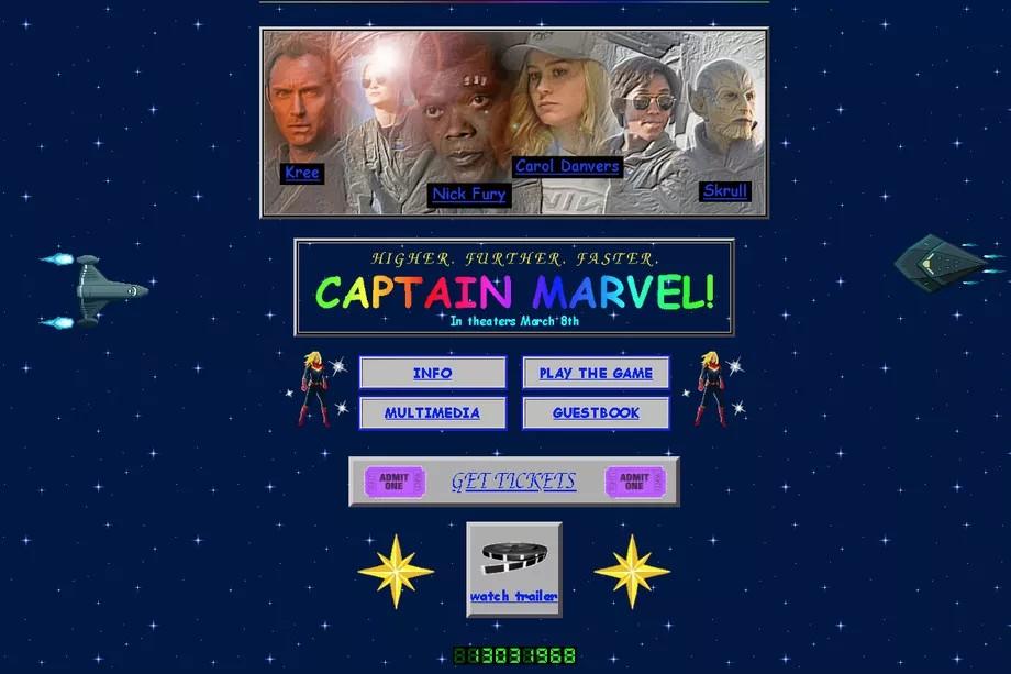 Студия Marvel создала ретро-сайт для продвижения фильма Captain Marvel