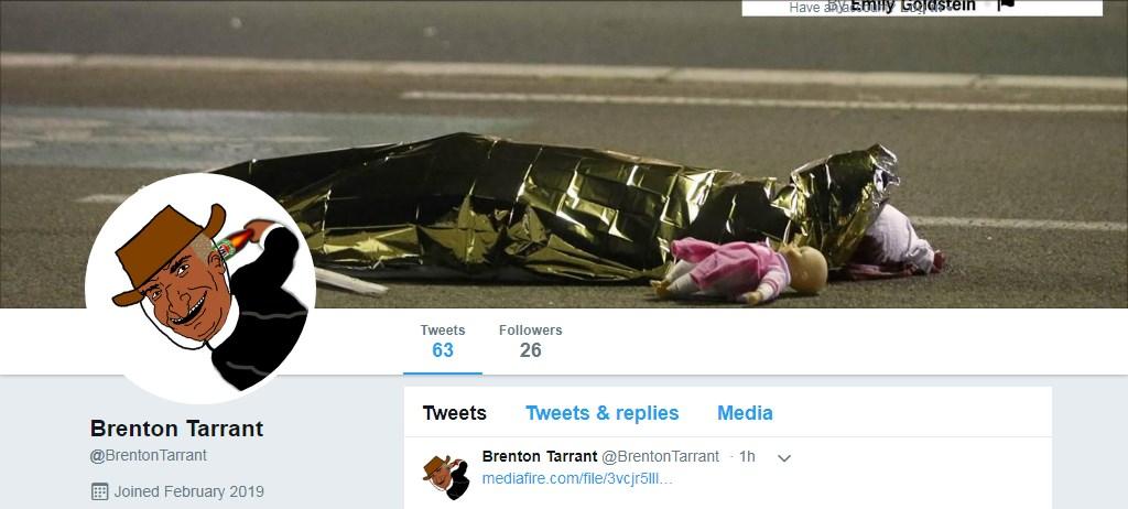 Удаленная страница Брентона Тарранта в Twitter