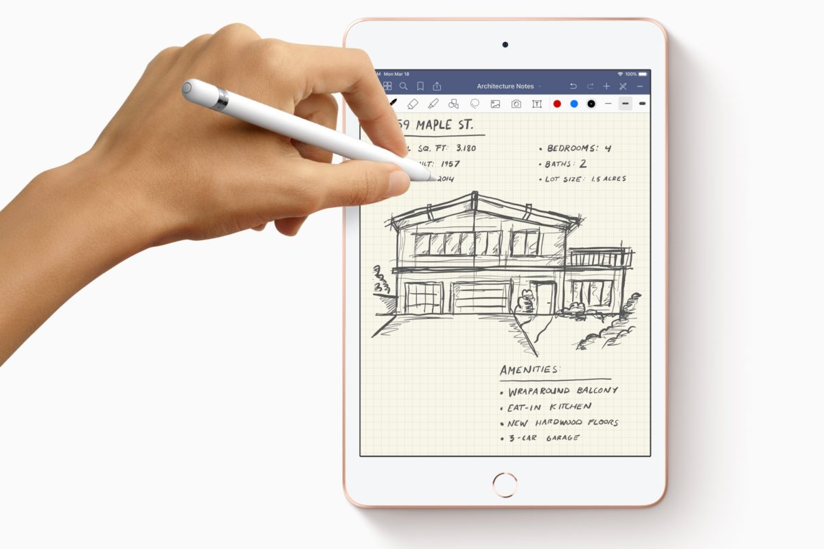 New iPad Mini Apple Pencil with hands drawing