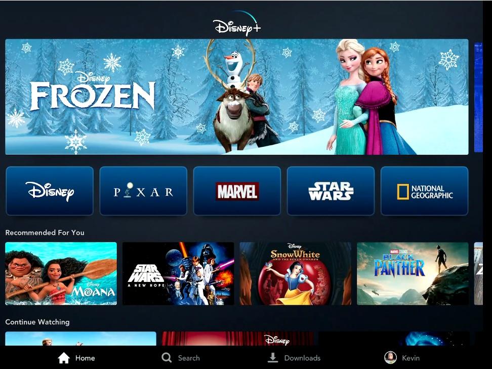 Интерфейс Disney+ на экранах телевизоров
