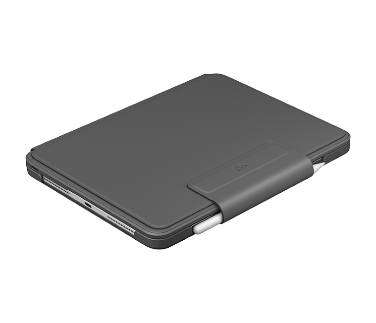 Slim Folio Pro имеет ремешок, который обеспечивает безопасность второго поколения Apple Pencil