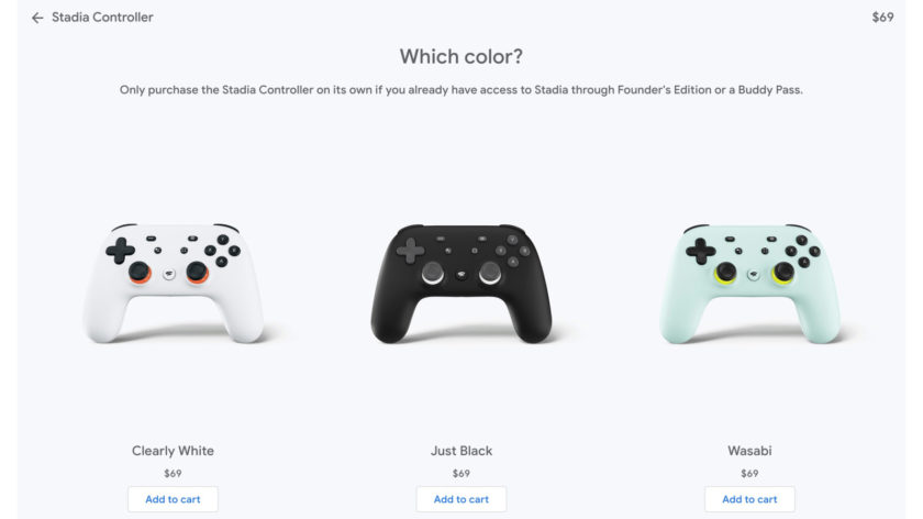 Вы можете приобрести Stadia в цветах Clearly White, Just Black и Wasabi