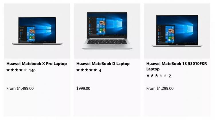 Какие ноутбуки Huawei вновь можно купить в Microsoft Store