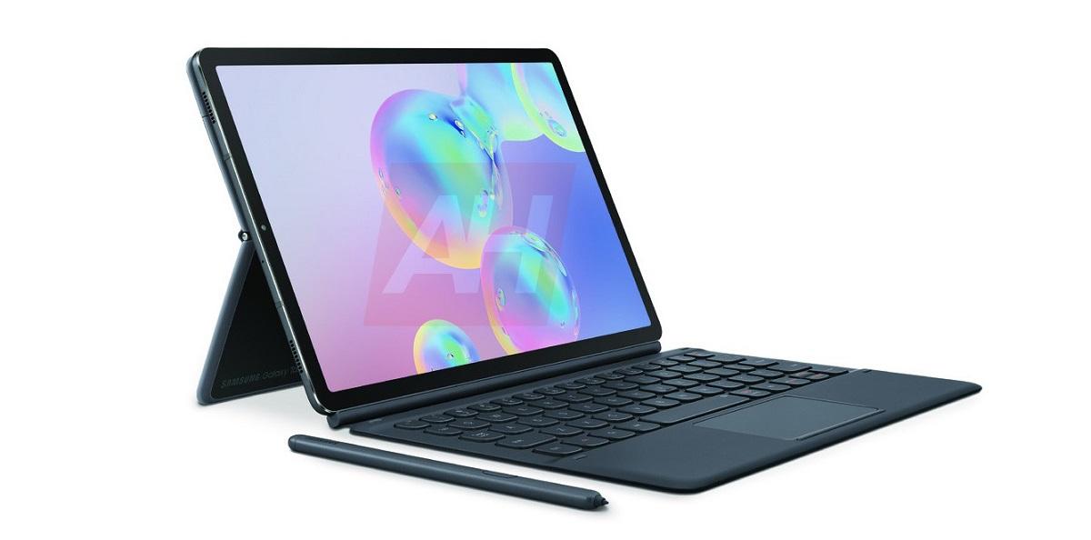 Общий вид на Galaxy Tab S6 с клавитурой