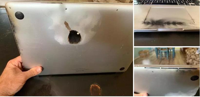 Общие фото взорвавшегося ноутбука от Apple
