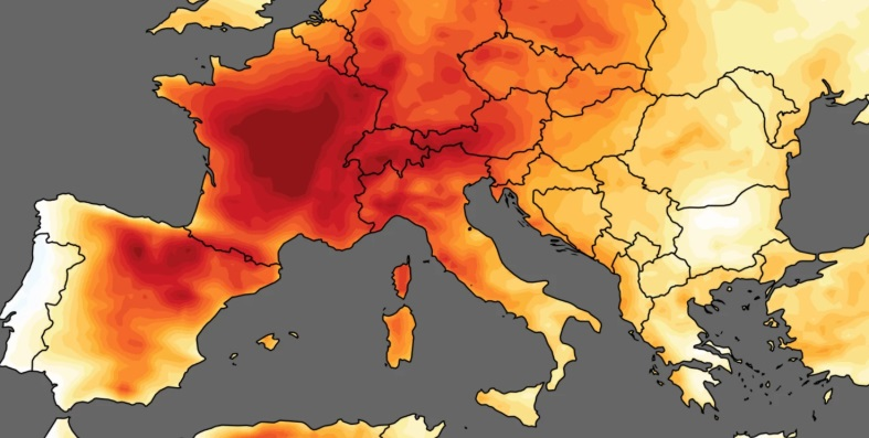 Температурная карта аномалий в Европе