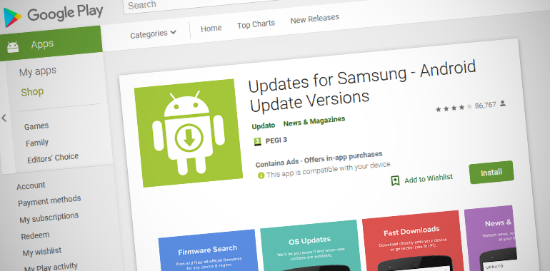 Разработчик приложения компания Updato не имеет никакого отношения ни к Samsung, ни к Google