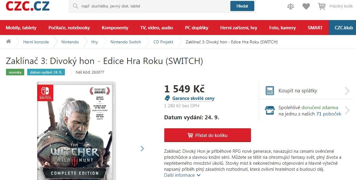 Switch-версия The Witcher 3 выйдет 24 сентября
