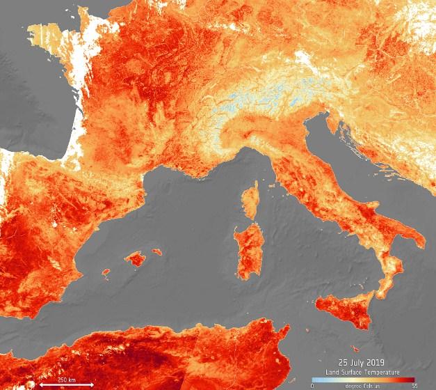 Снимок аномальной температуры из космоса
