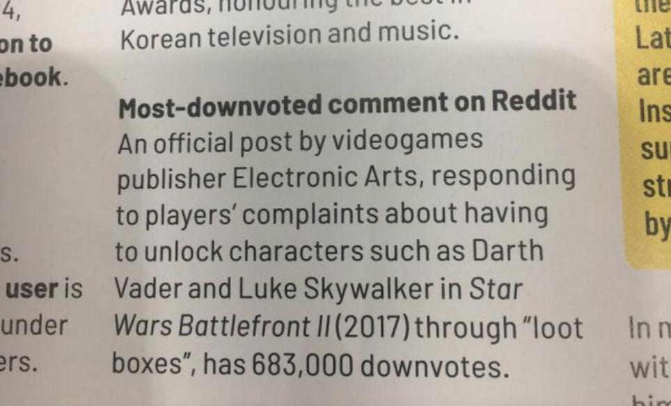 EA попала вКнигу рекордов Гиннесса засамый «задизлайканый» комментарий наReddit