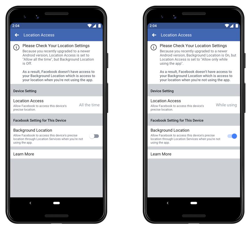 В приложении Facebook изменятся настройки передачи местоположения