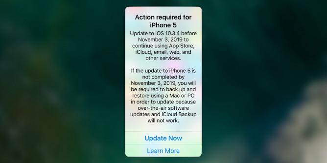 Apple вынудила владельцев старых iPhone обновиться до iOS 10.3.4