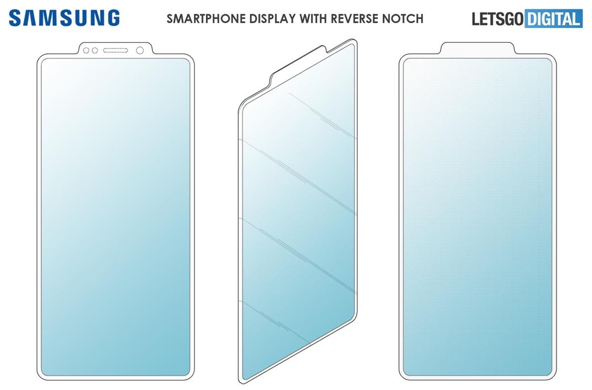 Samsung запатентовала смартфон с выпирающей «челкой»