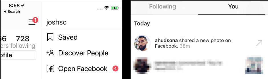 С Instagram прямо в Facebook