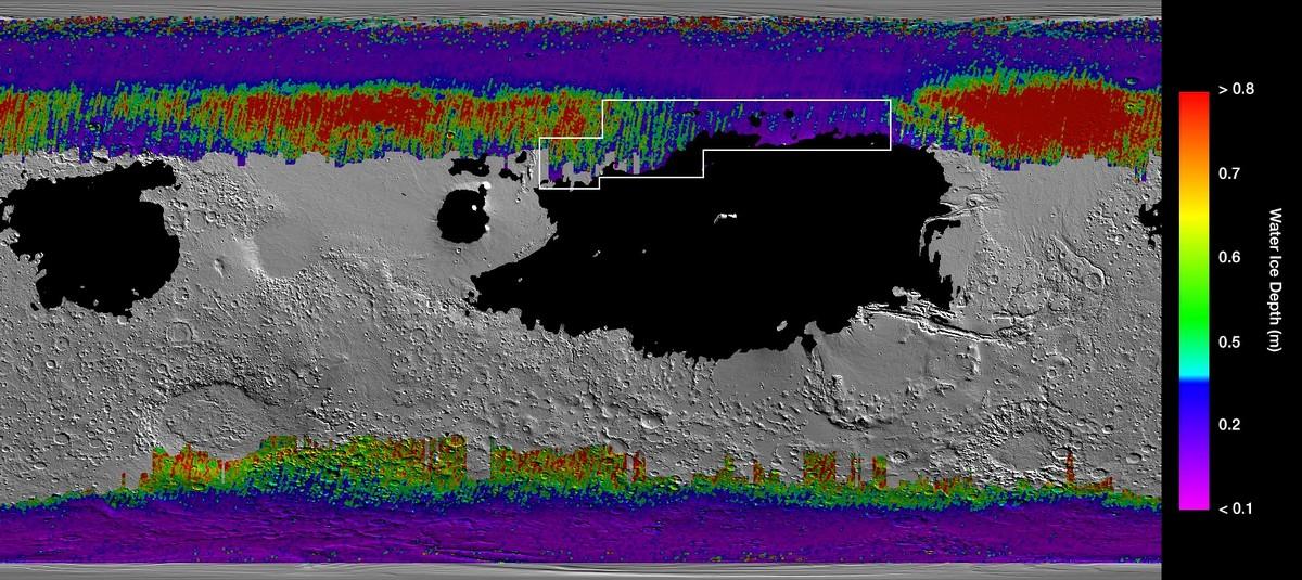 NASA опубликовало водную карту Марса