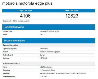 Смартфон Motorola Edge+ протестировали в Geekbench