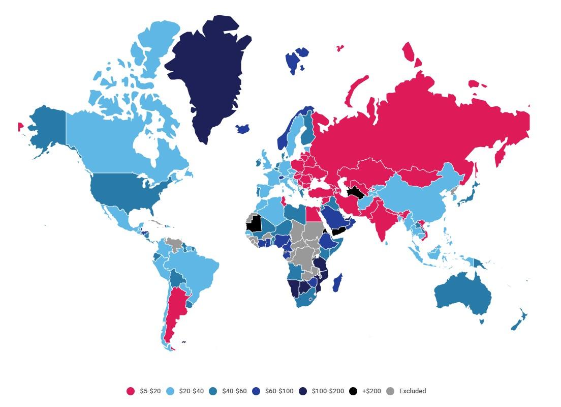 Карта мира с отображением стоимости интернета в каждой стране