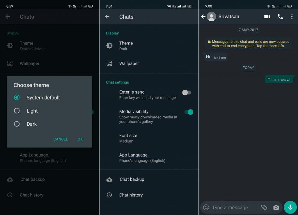 В бета-версии WhatsApp  для Android появилась поддержка темного режима