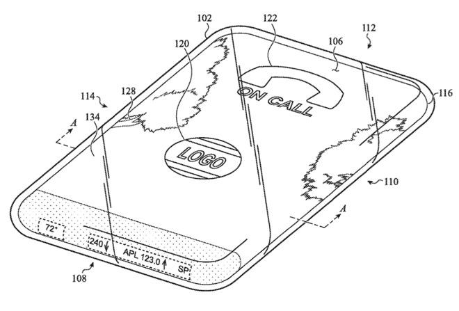 Apple запатентовала стеклянный iPhone с дисплеем по всей поверхности