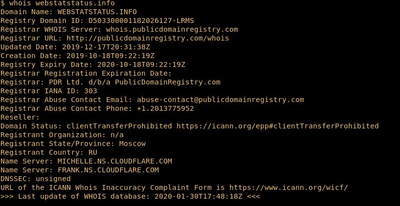 Скриншот с запросом в адрес российского сайта