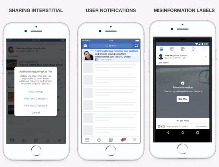 Функция оповещения о фейках в Facebook