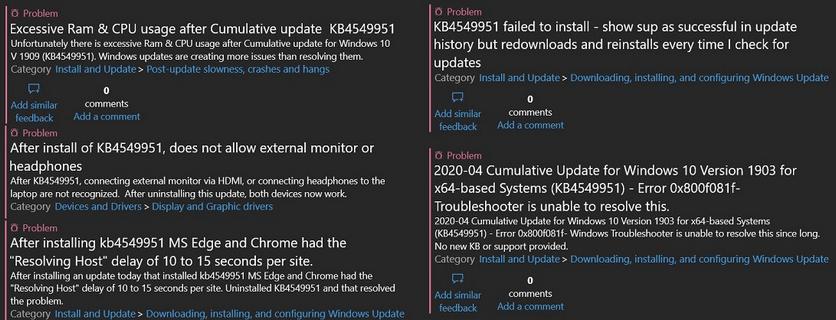 Обновление Windows 10 приводит к ошибкам в работе системы