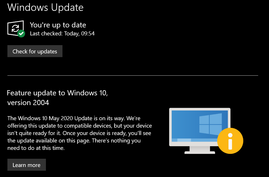 Microsoft заблокировала установку обновления Windows 10 May 2020 Update