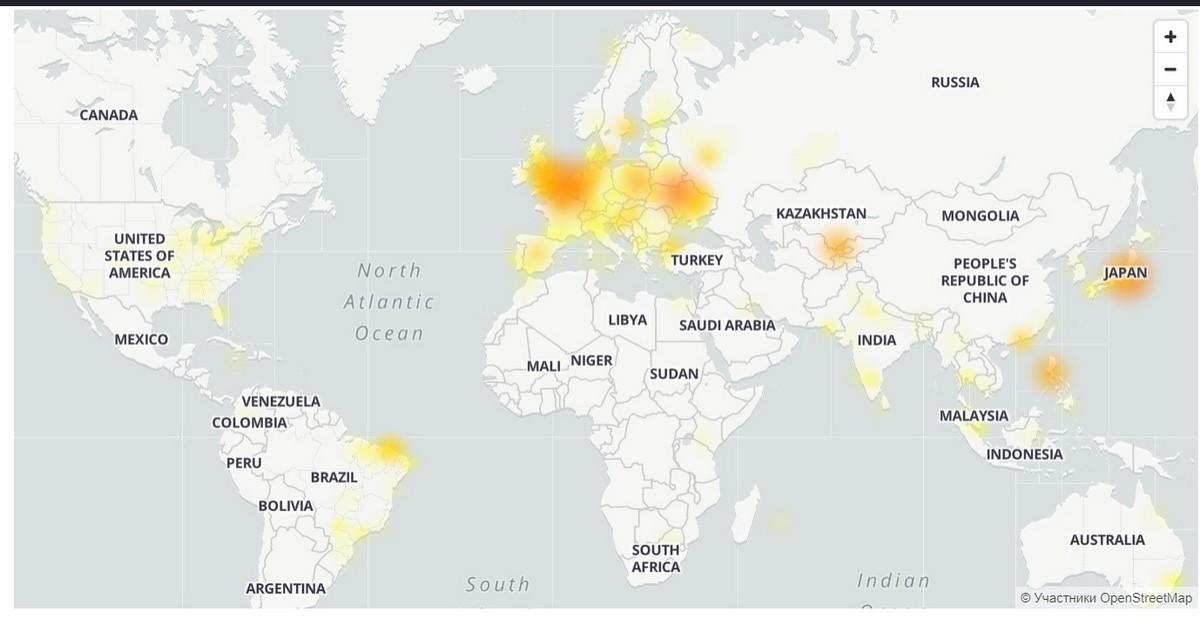 Карта сбоев Facebook