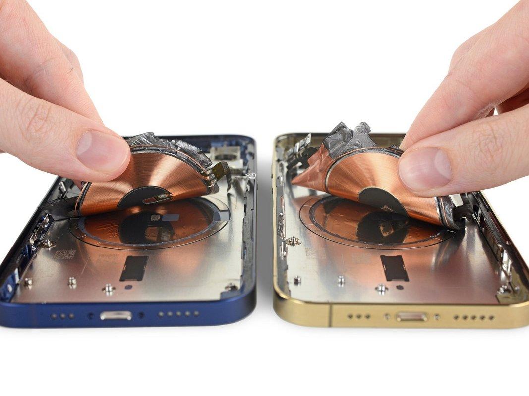 Интересно также наличие 18магнитов, прикрепленных ктыльной панели вформе круга, которые служат для фиксации зарядки MagSafe