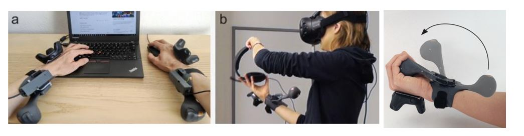 Два контроллера PIVOT можно использовать в паре, чтобы имитировать удерживание крупных объектов двумя руками