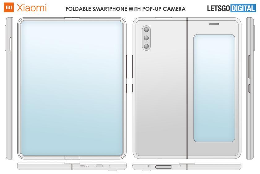 Xiaomi запатентовала складной смартфон с выезжающей фронтальной камерой