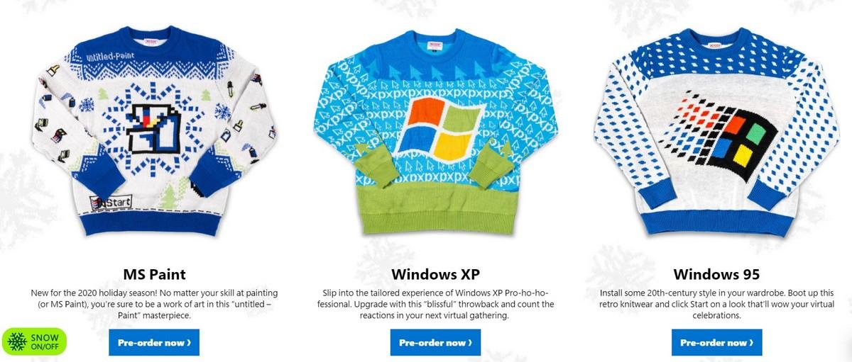 Microsoft выпустила уродливые новогодние свитеры в стиле MS Paint
